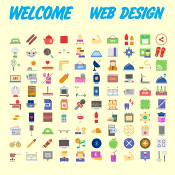 100 icon set. Trendy thin and simple icons for Web and Mobile. Light version. Vector illustration