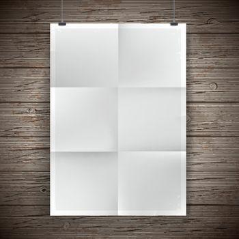 Blank paper poster vintage background. Vector illustration.