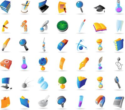 Icons for science, education and medicine. Vector illustration.