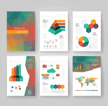 Business brochure design template with infographics. Annual report layout. Vector illustration.