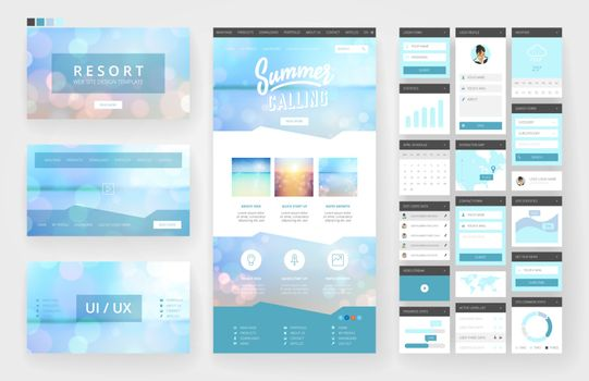 Website template, one page design, headers and interface elements. Travel agency, tropical summer resort.