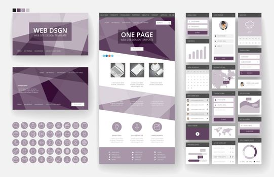 Website template, one page design, headers and interface elements.