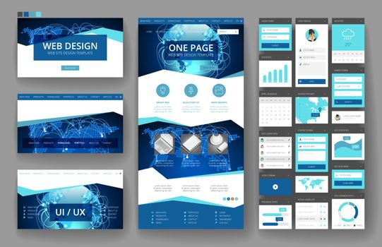 Website template, one page design, headers and interface elements. Global business technology connections.