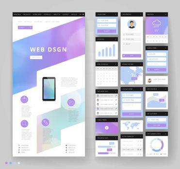 Website template design with interface elements. Bokeh defocused backgrounds. Vector illustration.