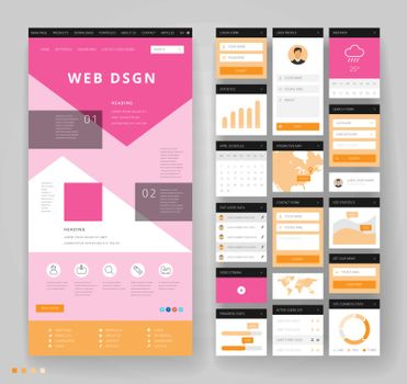 Website template design with interface elements. Vector illustration.