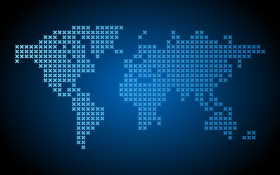 Dotted world map on blue background. Vector illustration.