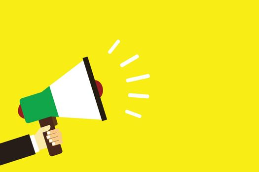 Flat design business illustration concept Digital marketing business megaphone for website and promotion banners. Cartoon human hand holding empty social media copy space text