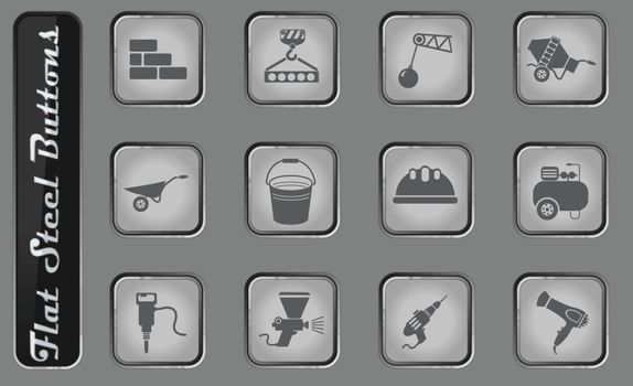 building equipment vector web icons on the flat steel buttons