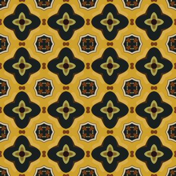 Seamless illustrated pattern made of abstract elements in yellow, green, brown, beige and black