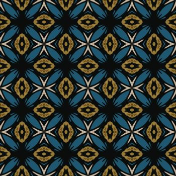 Seamless illustrated pattern made of abstract elements in beige, brown, blue and black