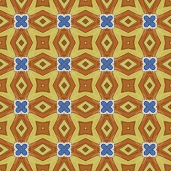 Seamless illustrated pattern made of abstract elements in white, yellow, blue and brown