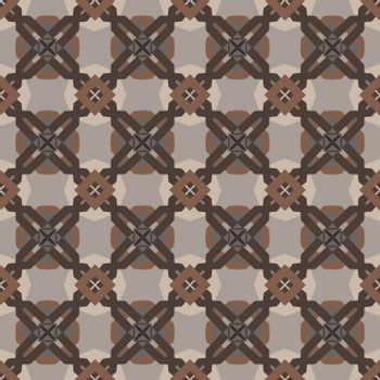 Seamless illustrated pattern made of abstract elements in beige and different shades of brown