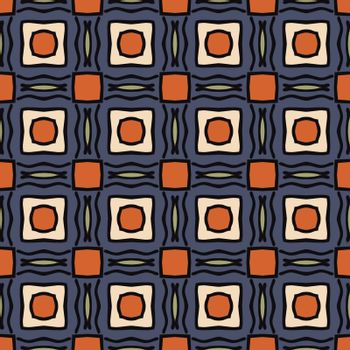 Seamless illustrated pattern made of abstract elements in beige, orange, blue, green, black