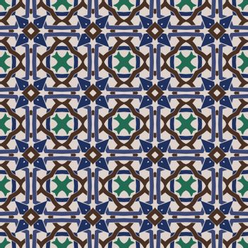 Seamless illustrated pattern made of abstract elements in beige, green,blue and brown