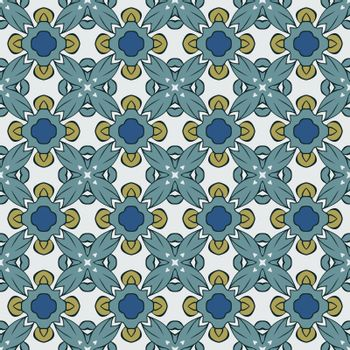 Seamless illustrated pattern made of abstract elements in white, yellow, turquoise, blue and black