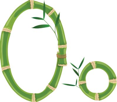 Bamboo letter with young shoots with leaves, eco vector font