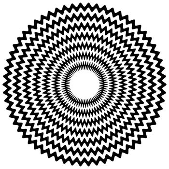 Abstract zigzag concentric element with jagged edges on white. Vector art.