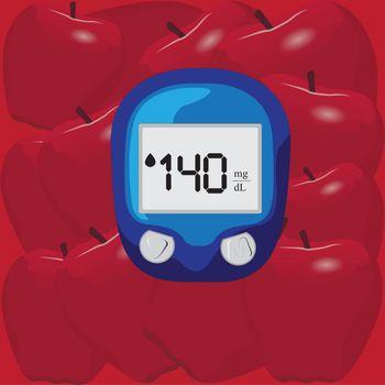 Blood test device for glucose level measurement diabetic treatment. apples background. Vector illustration