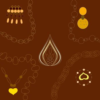Gold jewellery illustration hand drawn. Yellow chain, pendants on brown background. Poster, banner vector design, greeting cards, jewellery store advertisements. Vector illustration.