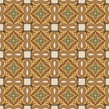 Seamless illustrated pattern made of abstract elements in beige, shades of brown and green