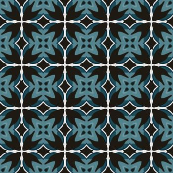 Seamless illustrated pattern made of abstract elements in white and shades of blue