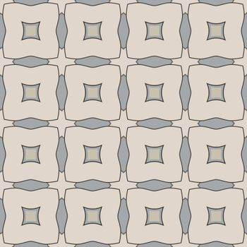 Seamless illustrated pattern made of abstract elements in beige, gray and black