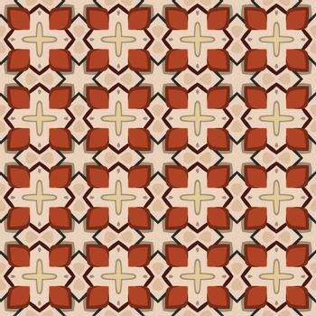 Seamless illustrated pattern made of abstract elements in beige, brown, red, black and yellow
