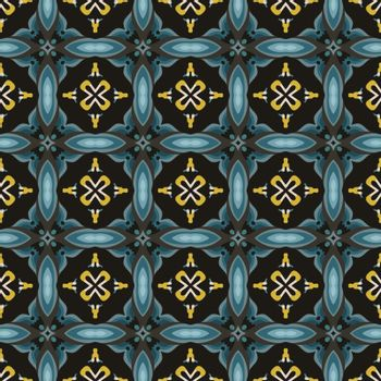 Seamless illustrated pattern made of abstract elements in beige, yellow, shades of blue, gray and black