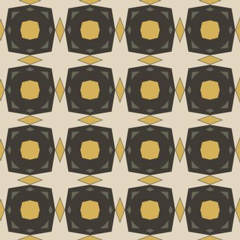 Seamless illustrated pattern made of abstract elements in beige, yellow and gray