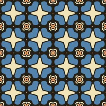 Seamless illustrated pattern made of abstract elements in beige, orange, blue and black