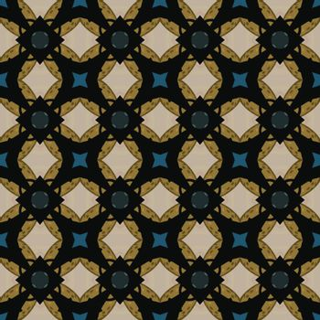 Seamless illustrated pattern made of abstract elements in beige,blue, shades of brown and black