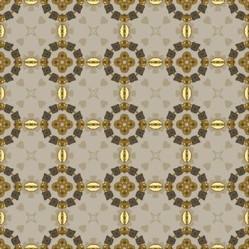 Seamless illustrated pattern made of abstract elements in beige,yellow, gray and brown