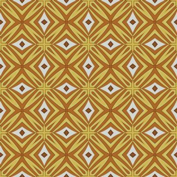 Seamless illustrated pattern made of abstract elements in white, yellow and brown