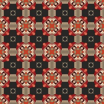 Seamless illustrated pattern made of abstract elements in beige, red, brown, gray and black