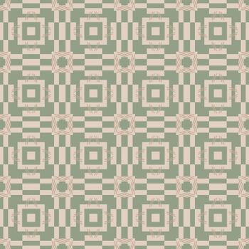 Seamless illustrated pattern made of abstract elements in beige and pale green