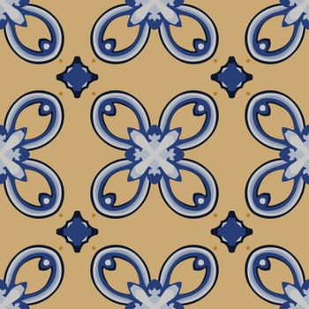 Seamless illustrated pattern made of abstract elements in white, yellow, black and blue