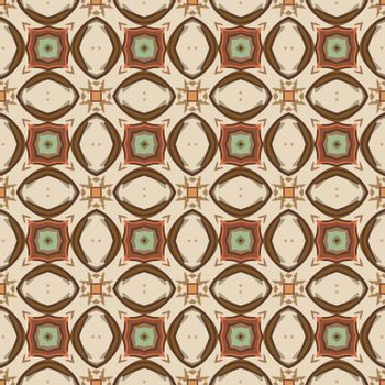 Seamless illustrated pattern made of abstract elements in beige, brown, orange, and green