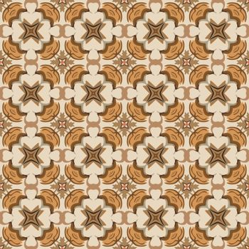 Seamless illustrated pattern made of abstract elements in beige, orange and shades of brown