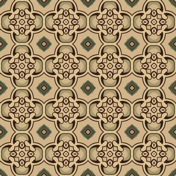 Seamless illustrated pattern made of abstract elements in beige, shades of green and brown