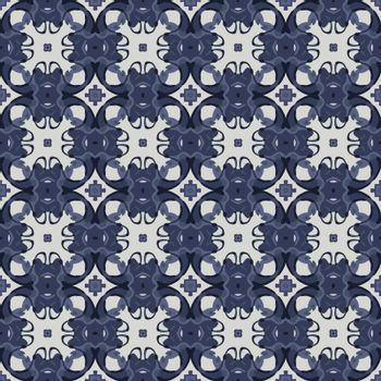 Seamless illustrated pattern made of abstract elements in white and blue
