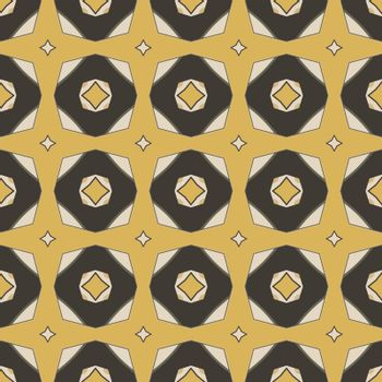 Seamless illustrated pattern made of abstract elements in beige,yellow, gray and black