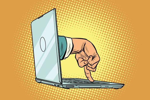 online surveillance and computer intrusion. Comic cartoon pop art retro vector illustration drawing
