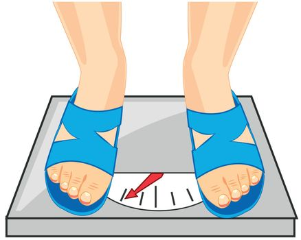 Vector illustration of the legs of the person and instrument for measurement of the weight