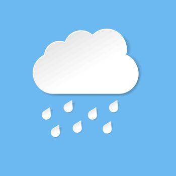 Blue Cloud With Rain And Blue Background, Vector Illustration