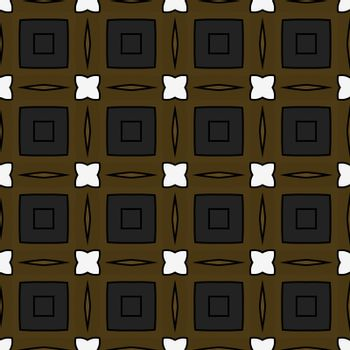 Seamless illustrated pattern made of abstract elements in brown, grey, white and black