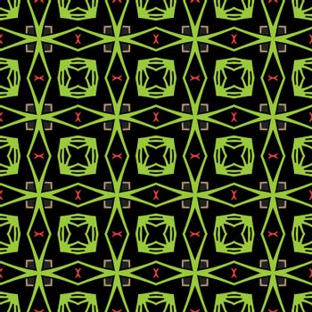 Seamless illustrated pattern made of abstract elements in black,red, brown and green