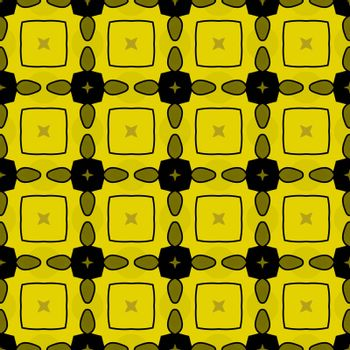 Seamless illustrated pattern made of abstract elements in black, yellow and brown