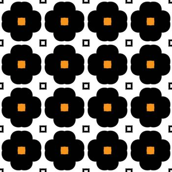 Seamless illustrated pattern made of abstract elements in orange, white and black