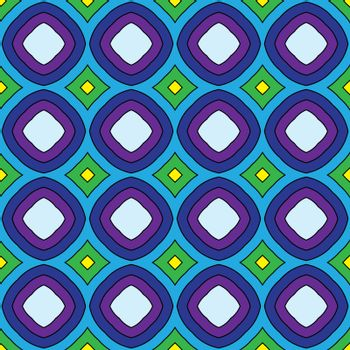 Seamless illustrated pattern made of abstract elements in blue, yellow, green, purple and black