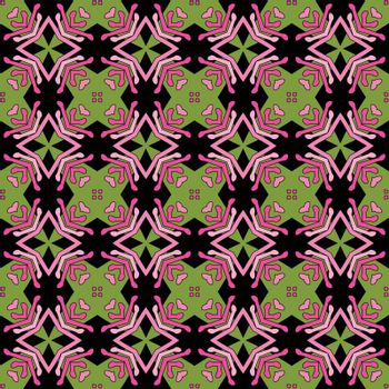 Seamless illustrated pattern made of abstract elements in pink, black and green